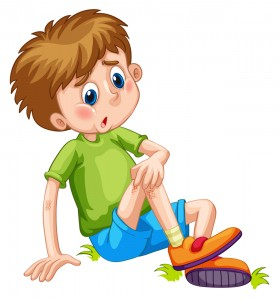 Boy having bruises on his leg illustration