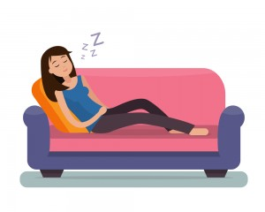 Woman sleep on sofa. Flat style vector illustration.