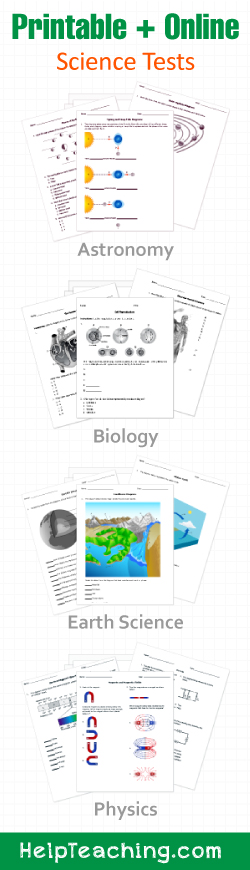 Printable/Online High School and AP Science Worksheets, Tests, and