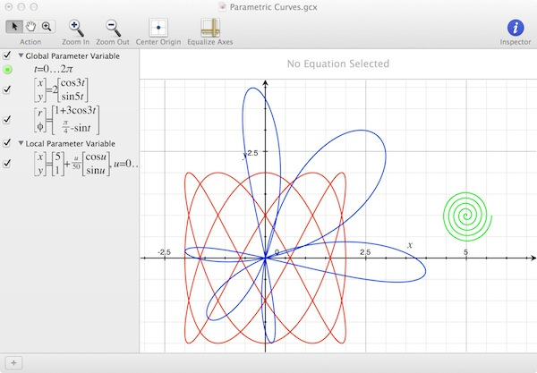 Grapher can graph complex parametric curves.